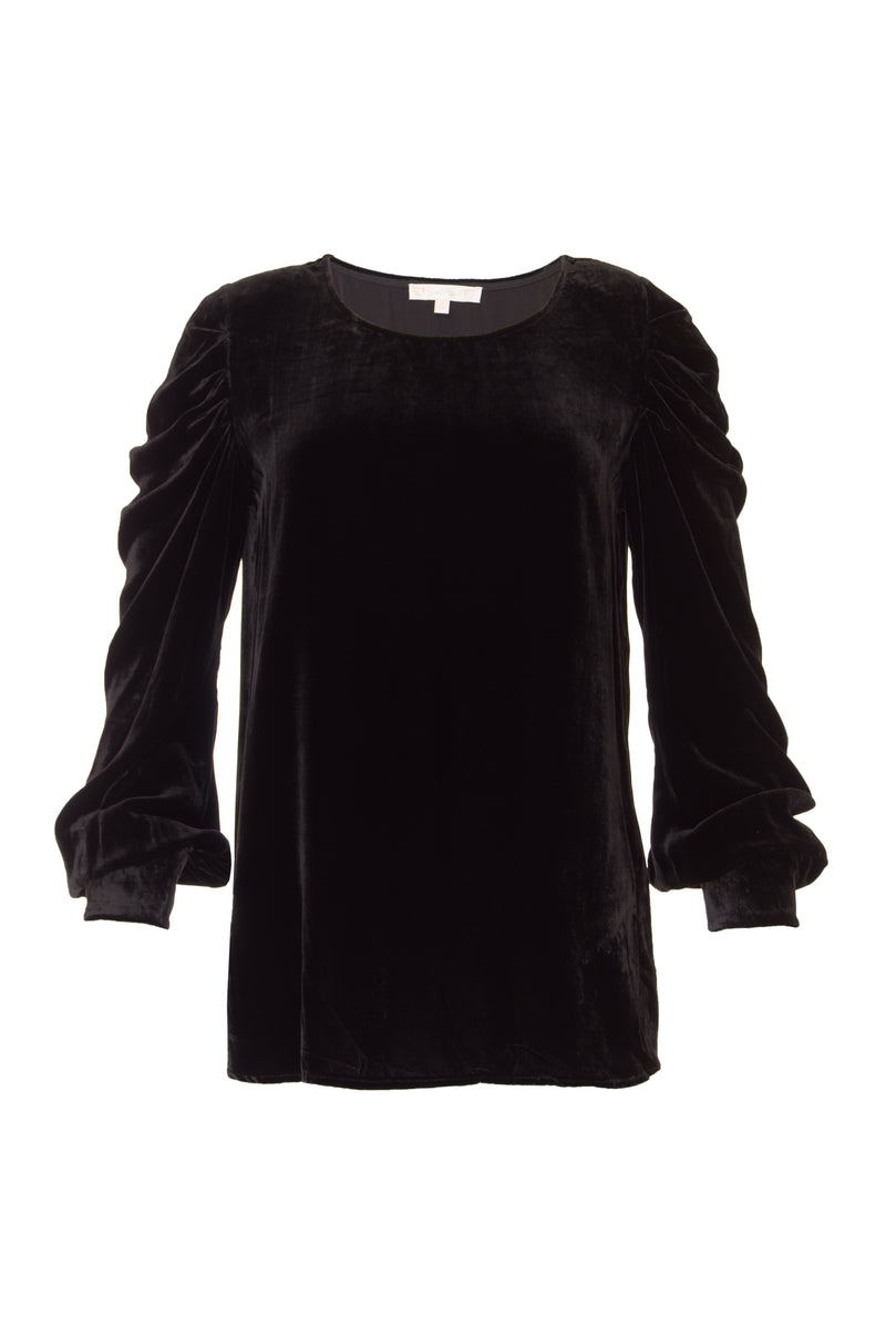 The Dynasty Velvet Ruched Sleeve Top in black.