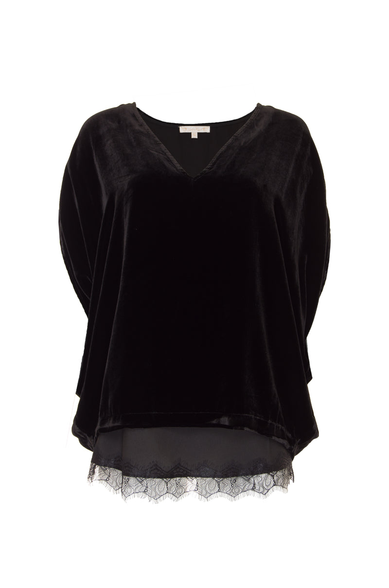 Velvet Wedge Lace Edge Top