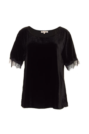 Velvet Ruched Lace Tee
