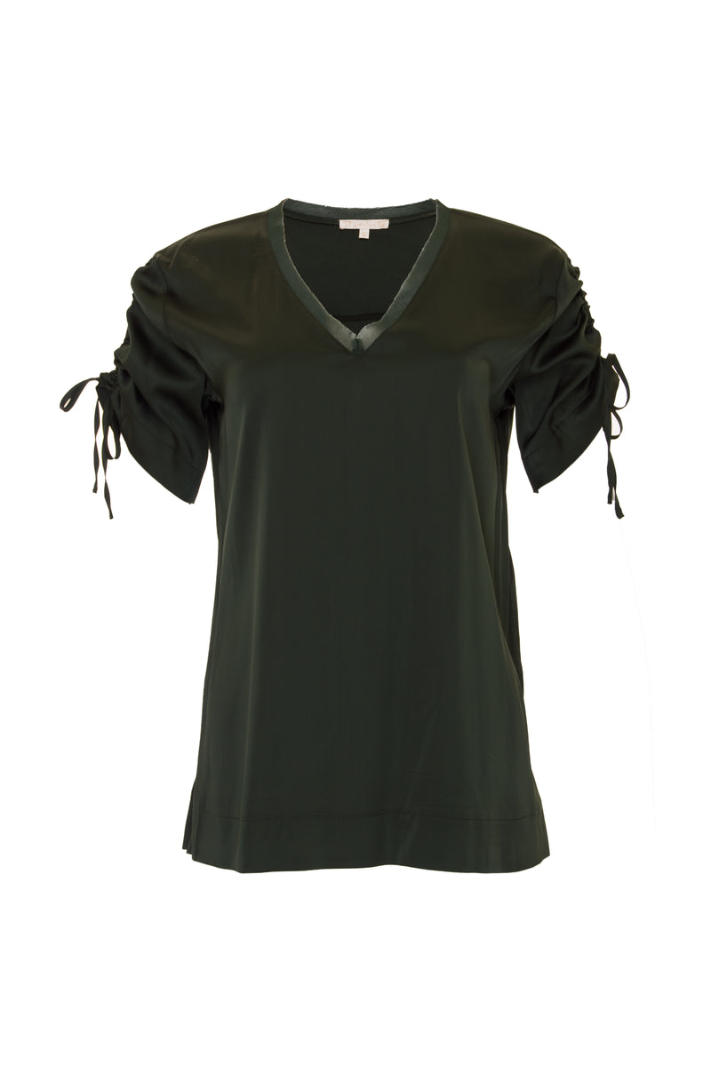 The Ruched V-Neck Tee in duffel green.