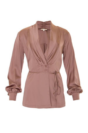 The Shawl Collar Long Sleeve Shirt in rose taupe.