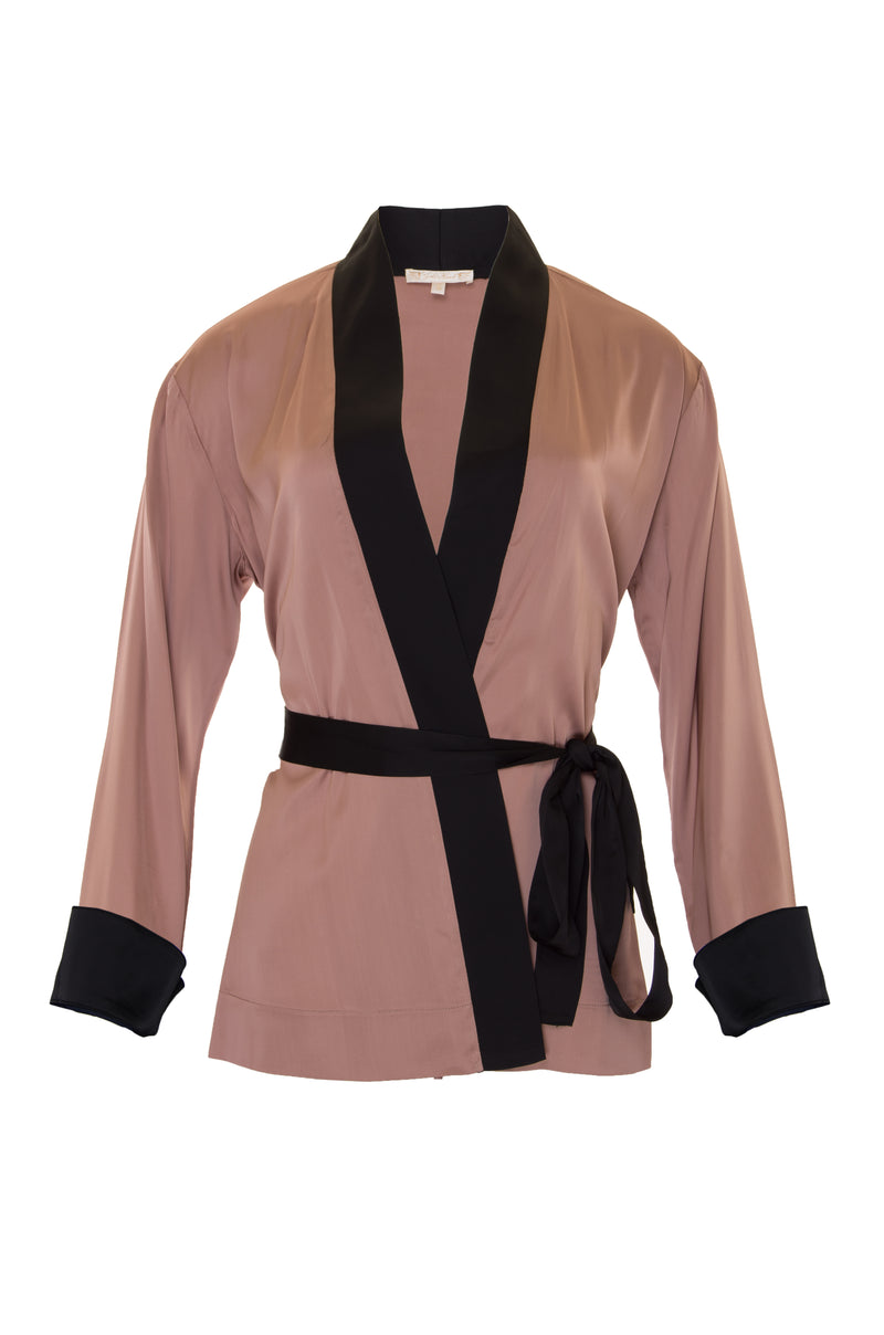 The Smock Wrap Shirt Kimono in black.