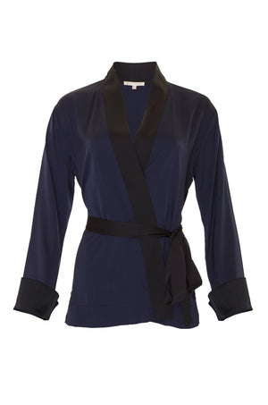 The Smock Wrap Shirt Kimono in navy.