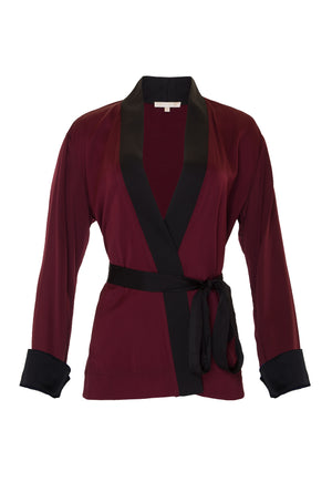 The Smock Wrap Shirt Kimono in burgundy.