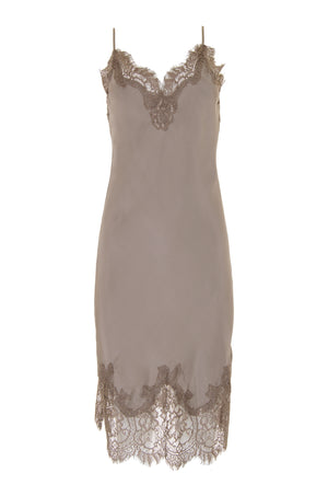 The Coco Bodice Lace Dress in stone grey.