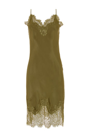 The Coco Bodice Lace Dress in olive.