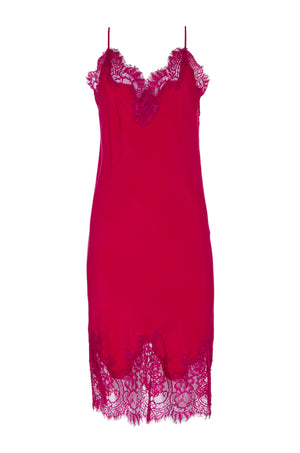 The Coco Bodice Lace Dress in fuchsia.