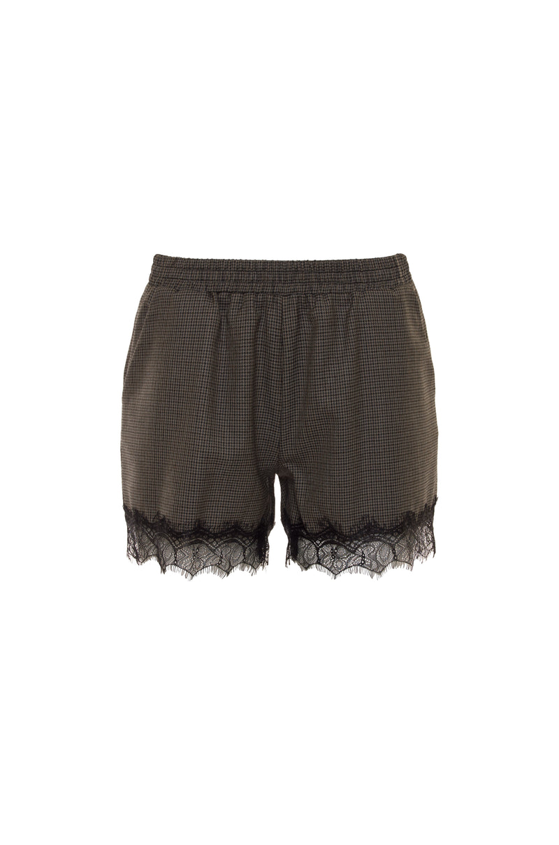The Menswear Plaid Shorts in grey.