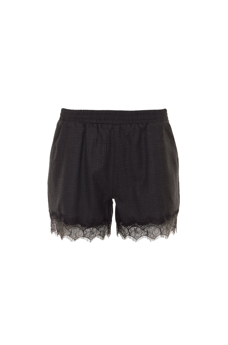 The Menswear Plaid Shorts in charcoal.