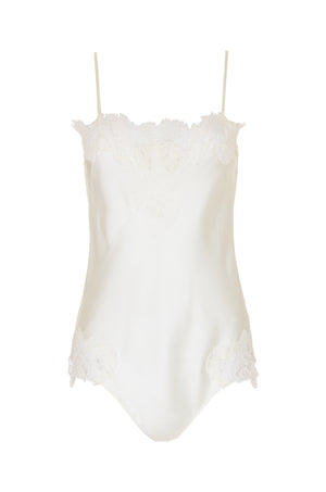 The Coco Lace Silk Bodysuit in dove.