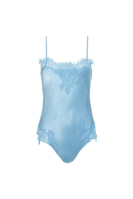 The Coco Lace Silk Bodysuit in baby blue.