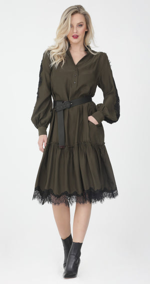 Ruffle Lace Inset Dress