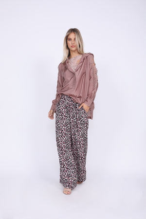 Model is Lace Cut Out Shoulder Top in muted rose with the Zoe Coco Camisole in muted rose and the Silk Print Wide Leg Pant in Pink Animal print.
