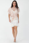Pleated Lace Silk Dress