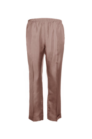 The Silk Twill Cuff Pants in rose taupe.