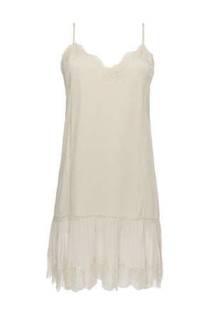 The Pleates Lace Silk Dress in dove.