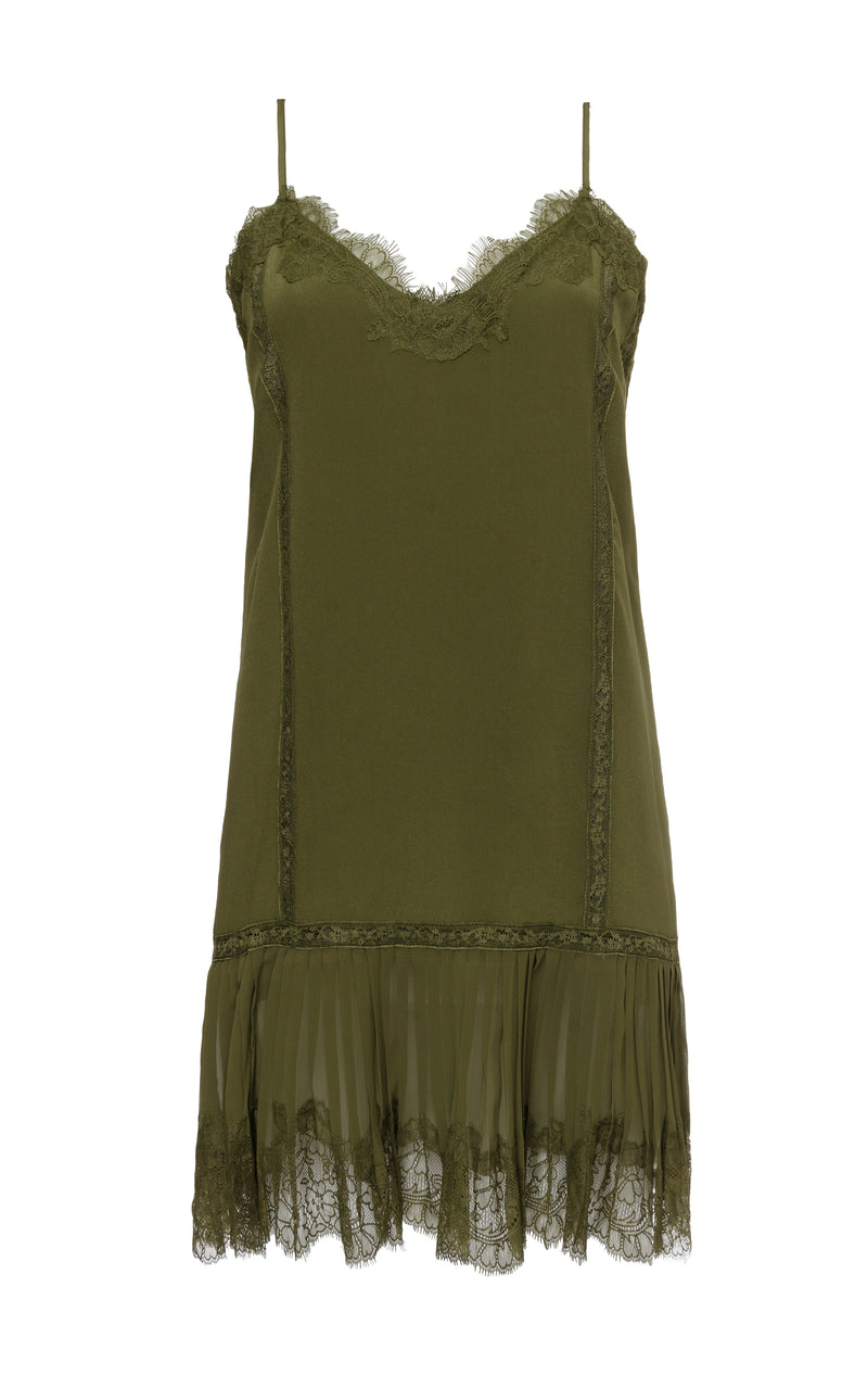 The Pleates Lace Silk Dress in olive.