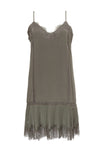 The Pleates Lace Silk Dress in steeple grey.