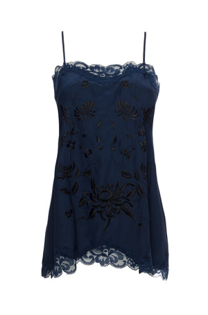 The Emily Embroidered Cami in navy with pewter and black embroidery.