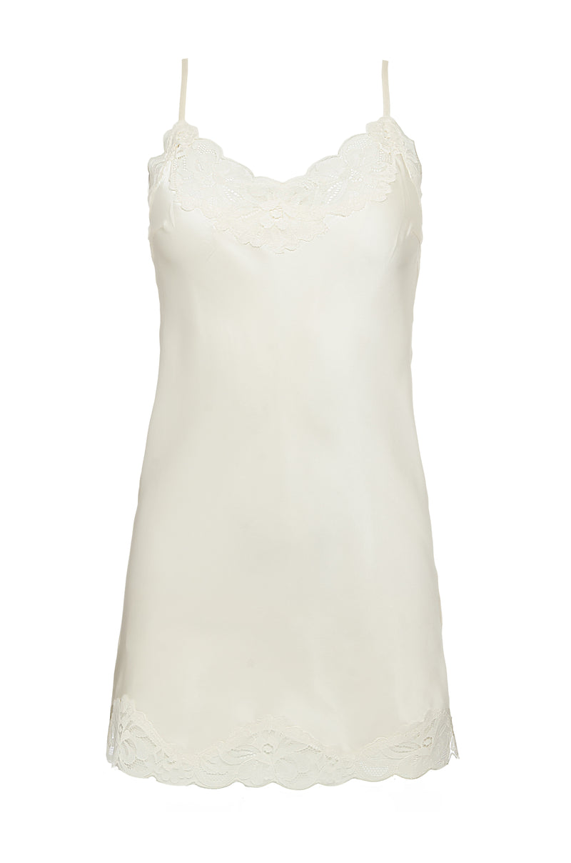 The Floral Lace Silk Tunic in dove.