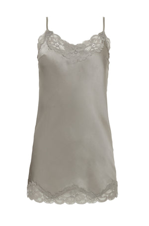 The Floral Lace Silk Tunic in steeple grey.