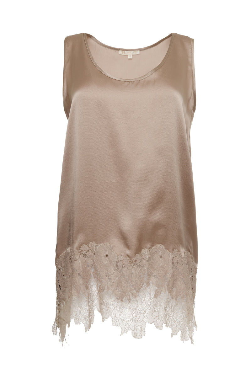 The Hammered Lace Silk Tank Top in sand shell.