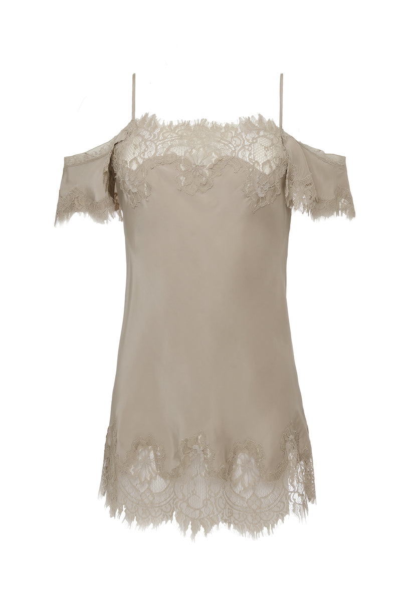 The Gigi Lace Silk Cami in birch.