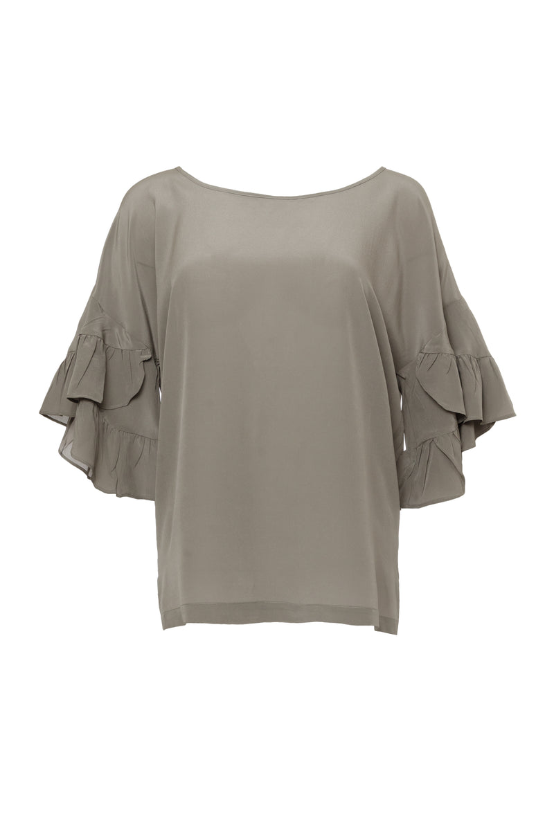 The Ruffle Sleeve Silk Top in steeple grey.