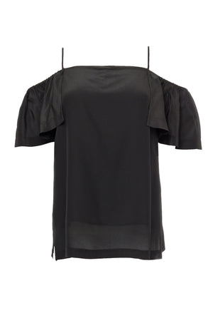The Off- Shoulder Silk Cami Top in black.