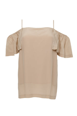 The Off- Shoulder Silk Cami Top in sand shell.