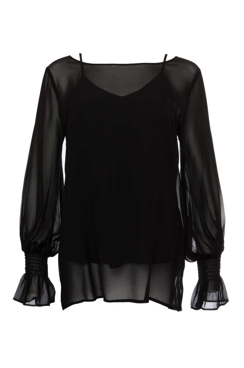 The Sheer Silk Smock Cuff Shirt in black.