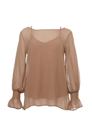 The Sheer Silk Smock Cuff Shirt in rose taupe.