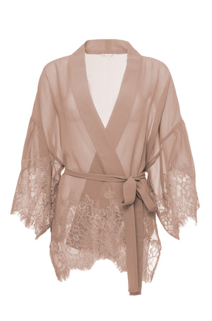 The Coco Silk Lace Kimono in rose taupe.