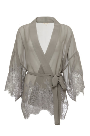 The Coco Silk Lace Kimono in steeple grey.