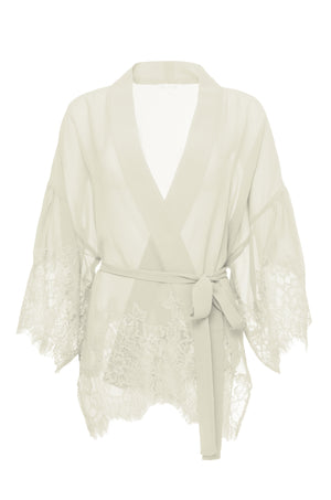 The Coco Silk Lace Kimono in dove.
