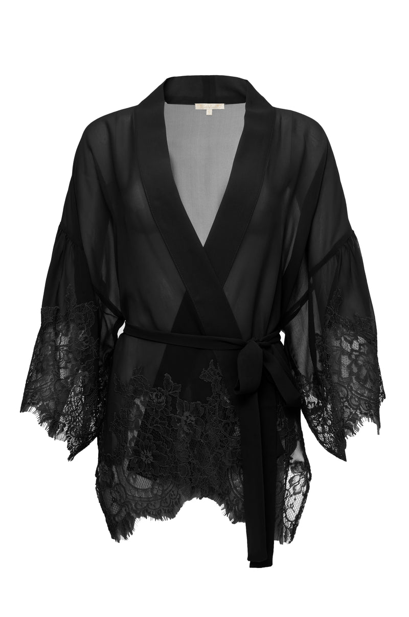 The Coco Silk Lace Kimono in black.