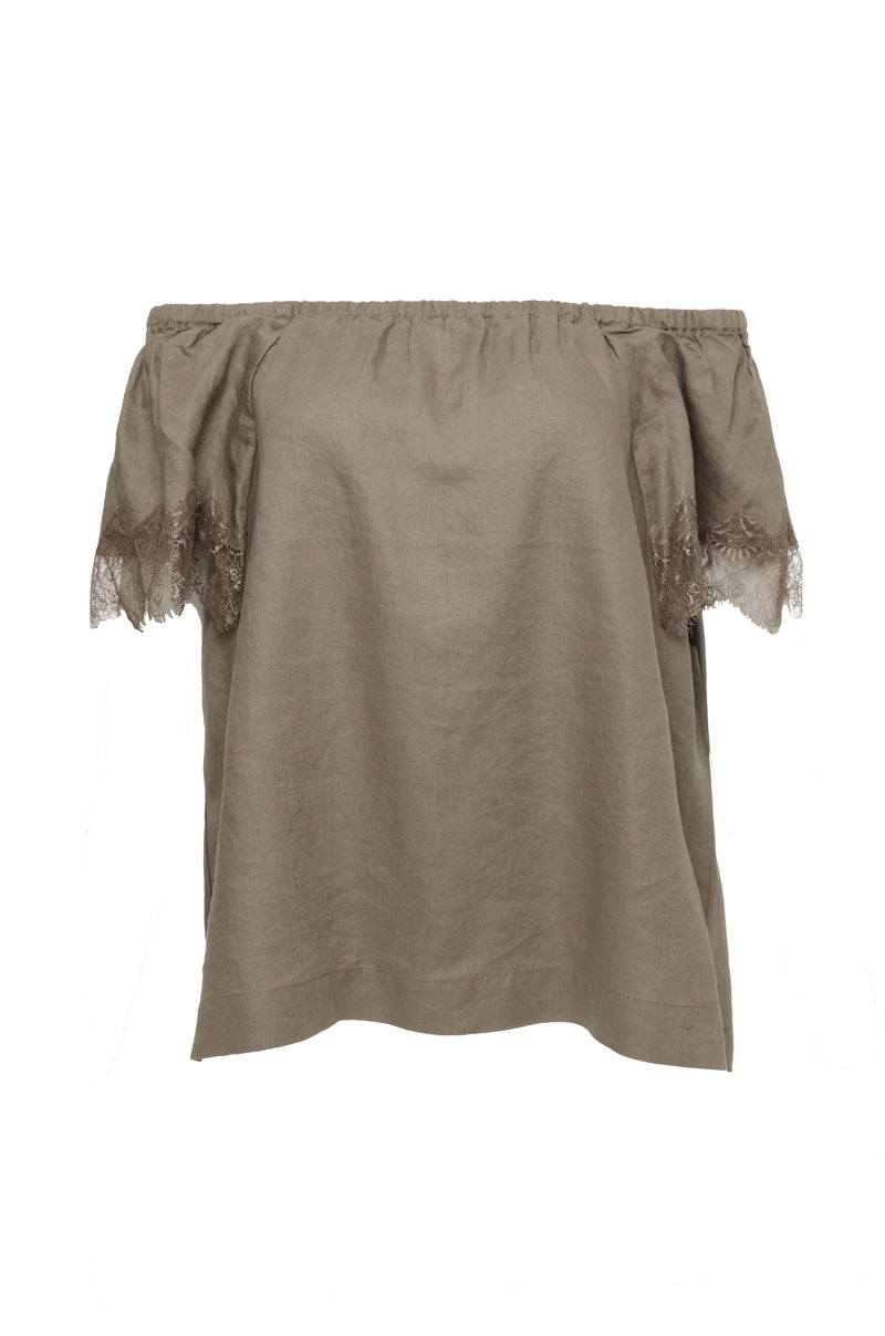 The Eva Off-Shoulder Top in grey.