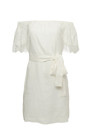 The Eva Off-Shoulder Dress in dove; shown with matching sash used as a belt.