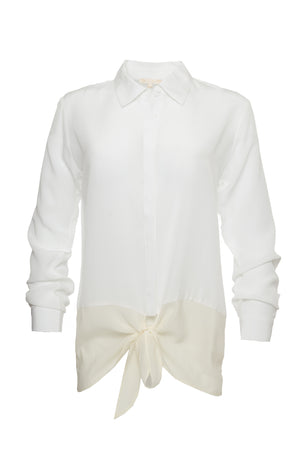 The Silk Front Tie Shirt in white.