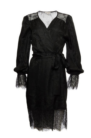 The Emma Lace Jacquard Robe in black, shown belted at the waist.