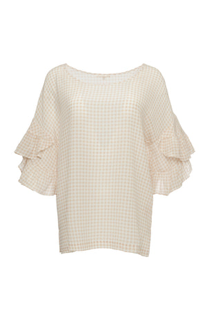 The Anne Marie Gingham Silk Top in sand shell.