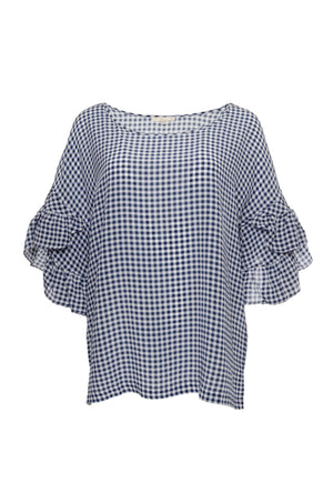 The Anne Marie Gingham Silk Top in navy.