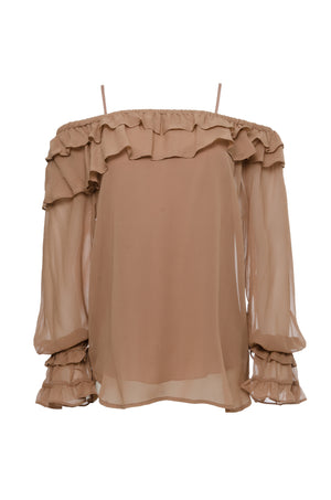 The Mila Silk Ruffle Top in rose taupe.