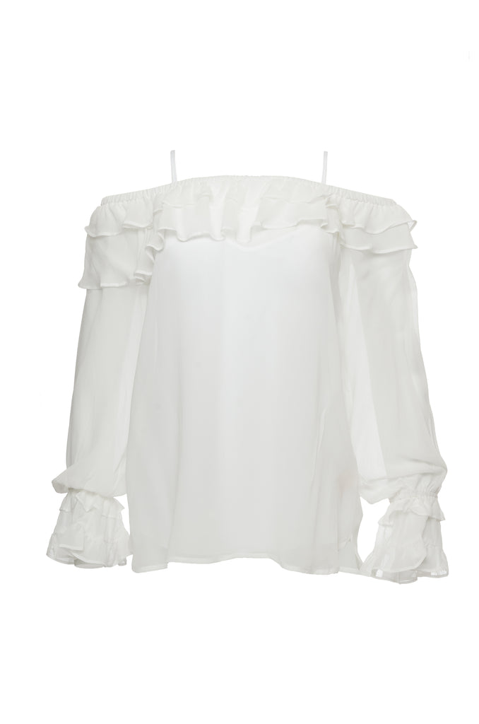 Mila Silk Ruffle Top