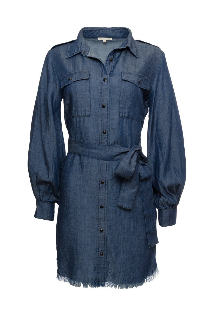 Model is wearing the JC Denim Dress in navy, buttoned only in the middle front torso and tied at the waist with the included denim sash, and worn with the Marilyn Lace Silk Slip Dress in black underneath. Also worn with open toe, low heel sandals.