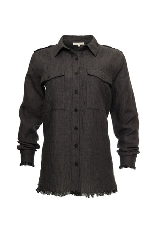 The Capri Linen Shirt in black.