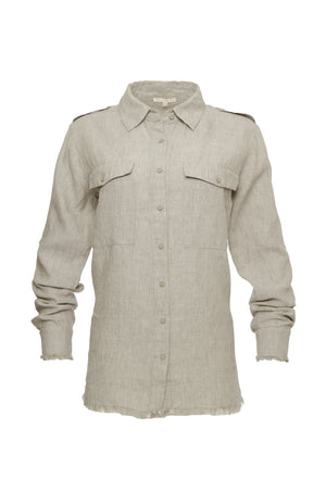 The Capri Linen Shirt in birch.