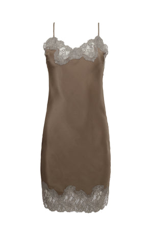The Marilyn Lace Silk Slip Dress in warm grey with steeple grey lace.