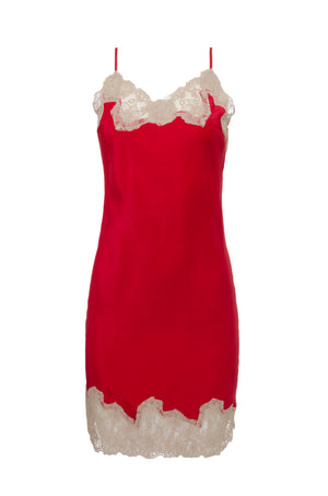 The Marilyn Lace Silk Slip Dress in red with sand shell lace.