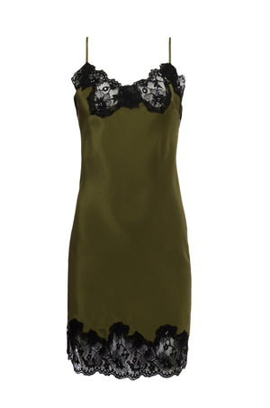 The Marilyn Lace Silk Slip Dress in olive with black lace.